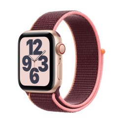 Apple Watch SE GPS + Cellular, 40mm Gold Aluminium Case with Plum Sport Loop
